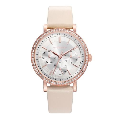 Reloj Viceroy Chica Dorado Cristales Correa Marrón