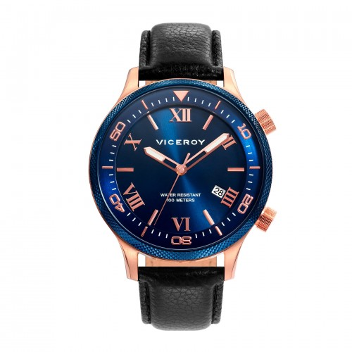 Reloj Viceroy Azul Dorado Correa Negra
