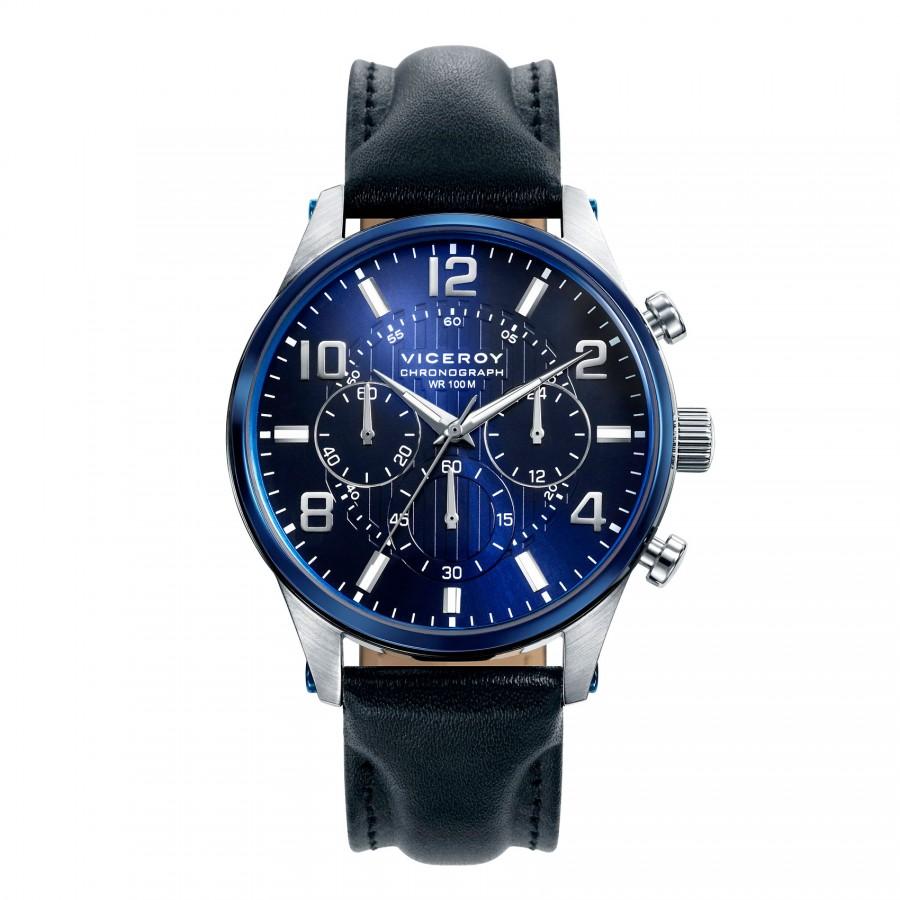 Reloj Viceroy Chico Azul Sumergible con Correa de Piel Negra