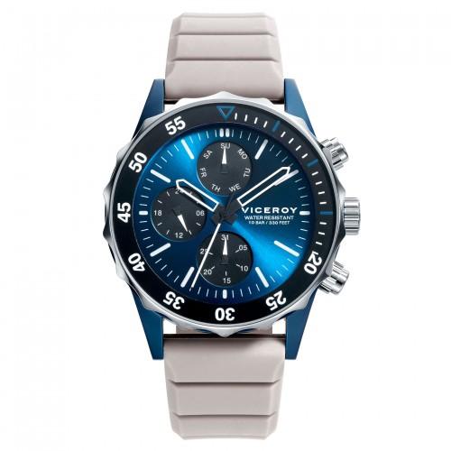 Reloj Viceroy Chico Azul Sumergible con Correa de Goma Gris