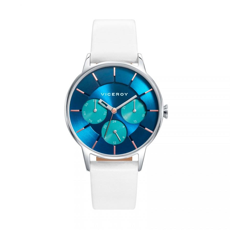 Reloj Viceroy Chica Azul con Correa Blanca