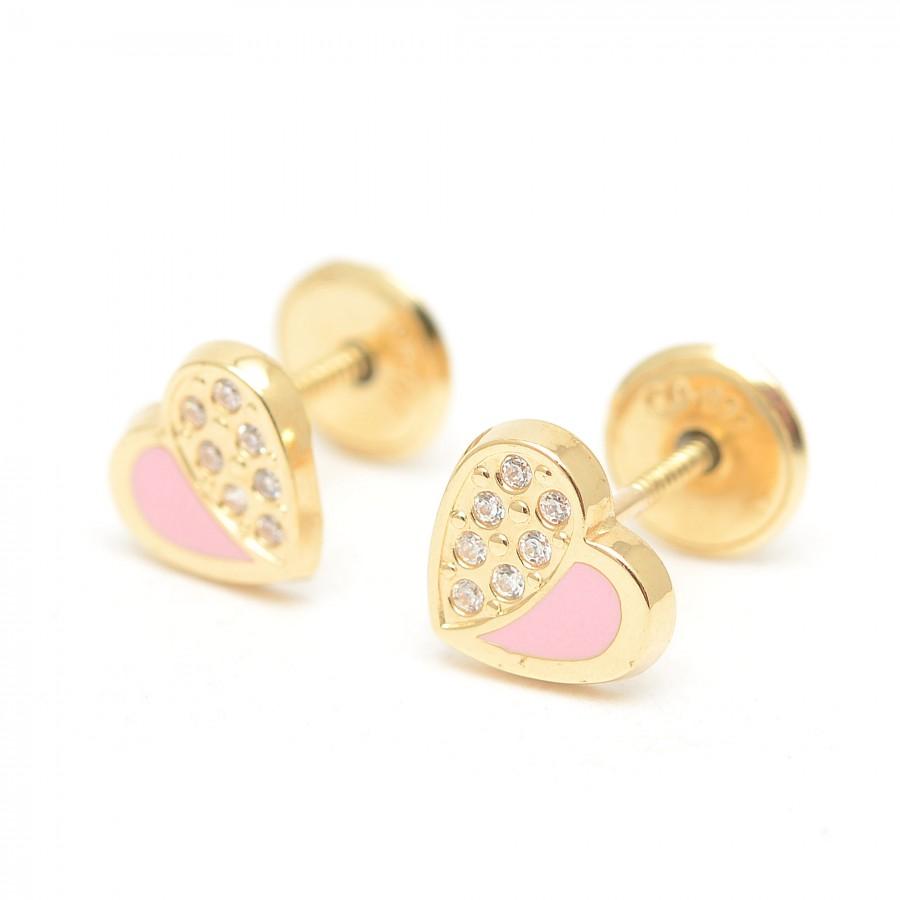 Pendientes Oro Bebé Niña Infantil Corazón Rosa Circonitas