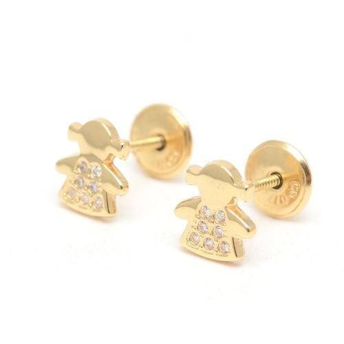 Pendientes Oro Muñeca Circonitas