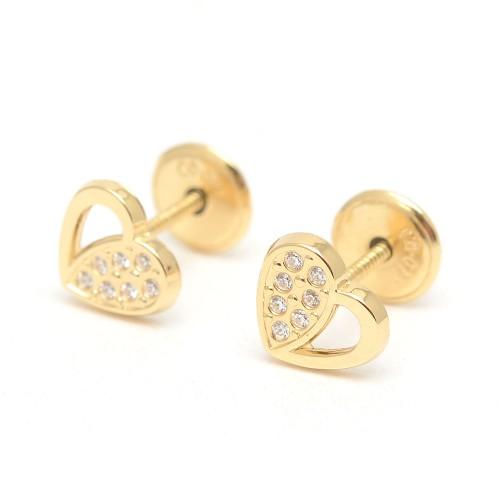 Pendientes Oro Bebé Corazón Circonitas