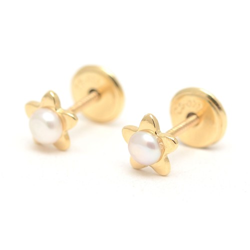 Pendientes Oro Bebé Estrellas Perlas