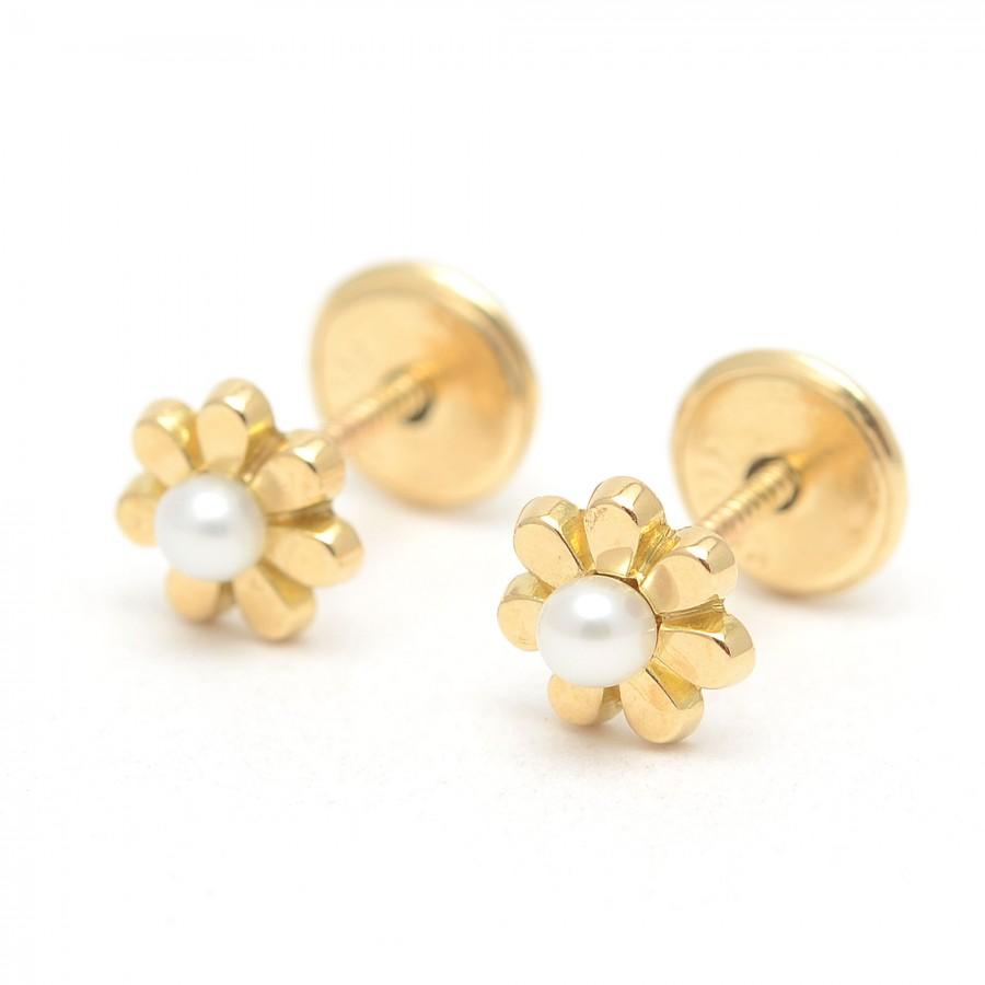 Pendientes Oro Bebé Margaritas Perlas