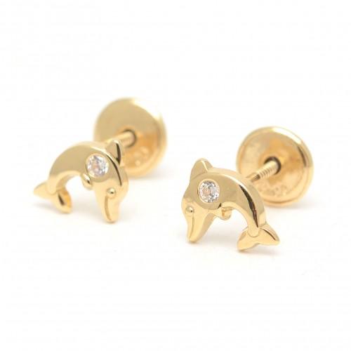 Pendientes Oro Bebé Delfines Circonitas