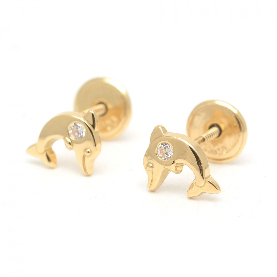 Pendientes Oro Bebé Niña Delfines Circonitas