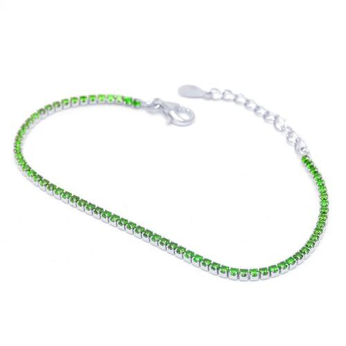 Pulsera Plata Riviere Verde Circonitas