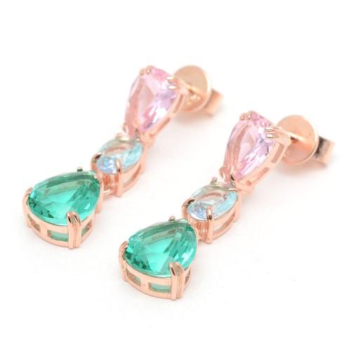 Pendientes Plata Dorados Rosa, Azul y Verde