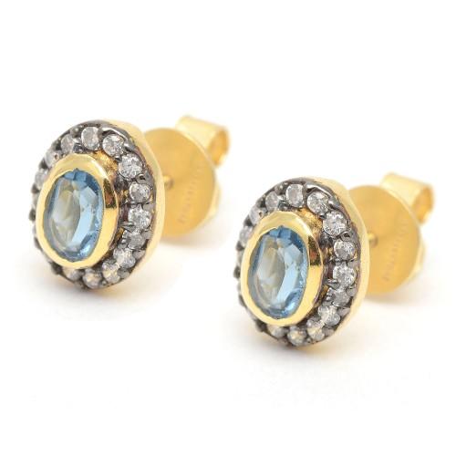 Pendientes Plata Dorados Azules Ovalados