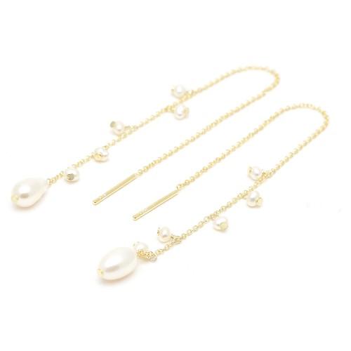 Pendientes Plata Dorados Cadena Perlas