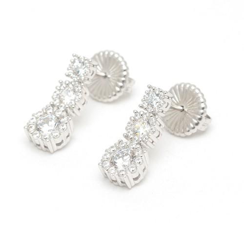 Pendientes Plata Tres Rosetones Circonitas