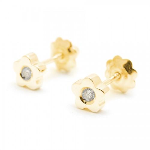 Pendientes Oro Bebé Niña Infantil Rosca Flor Diamante