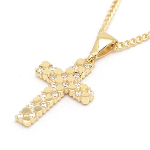 Cruz Oro Círculos Circonitas