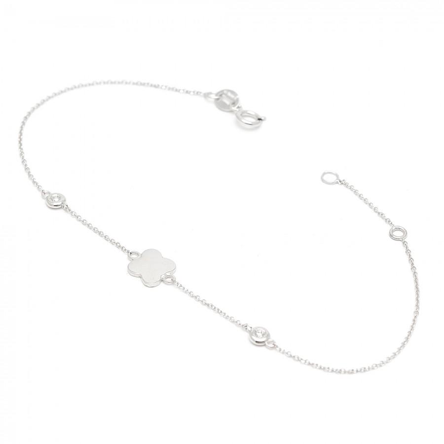 Pulsera Oro Blanco Trébol Diamantes