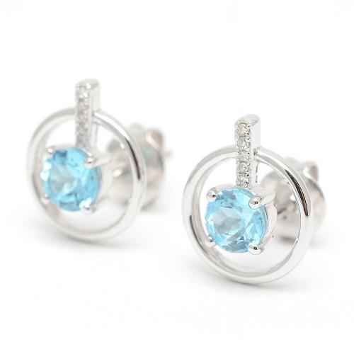 Pendientes Oro Blanco Azules Diamantes