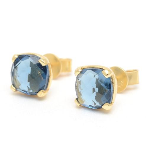 Pendientes Plata Dorados Azul Cuadrados