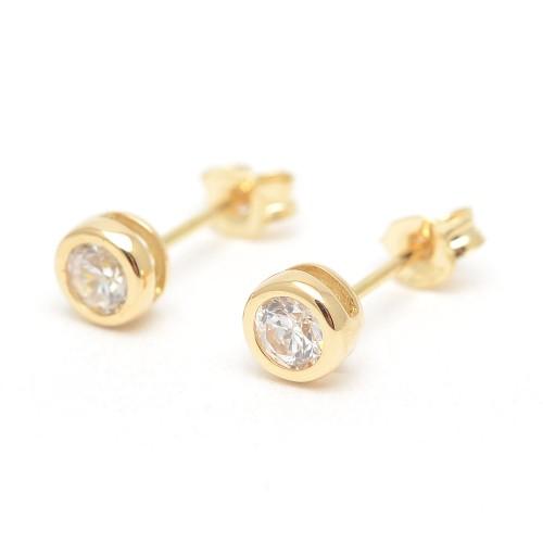 Pendientes Oro Círculo Circonita