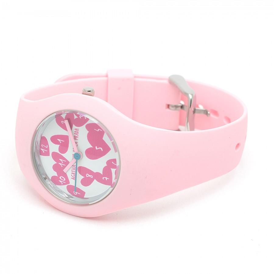 Reloj de Agatha rosa con correa de goma
