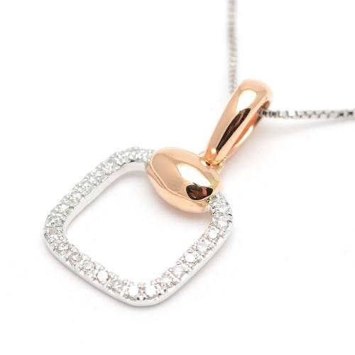 Colgante Diamantes Oro Blanco y Rosa