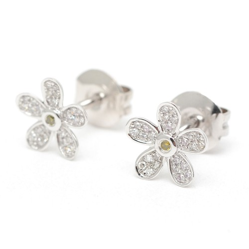 Pendientes Oro Blanco Margarita Diamantes