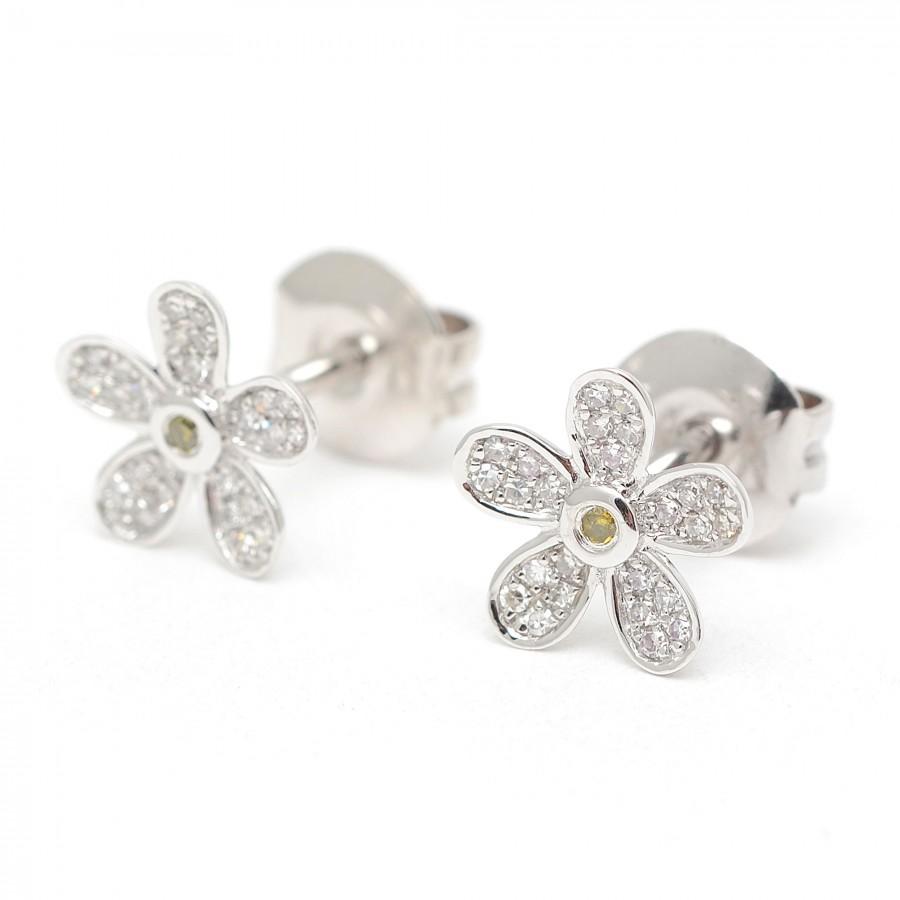 código promocional dc99d 0ae82 Pendientes Oro Blanco Margarita Diamantes