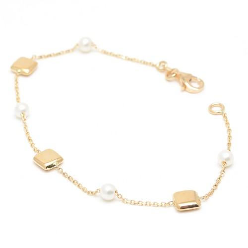 Pulsera Oro Cuadrados Perlas