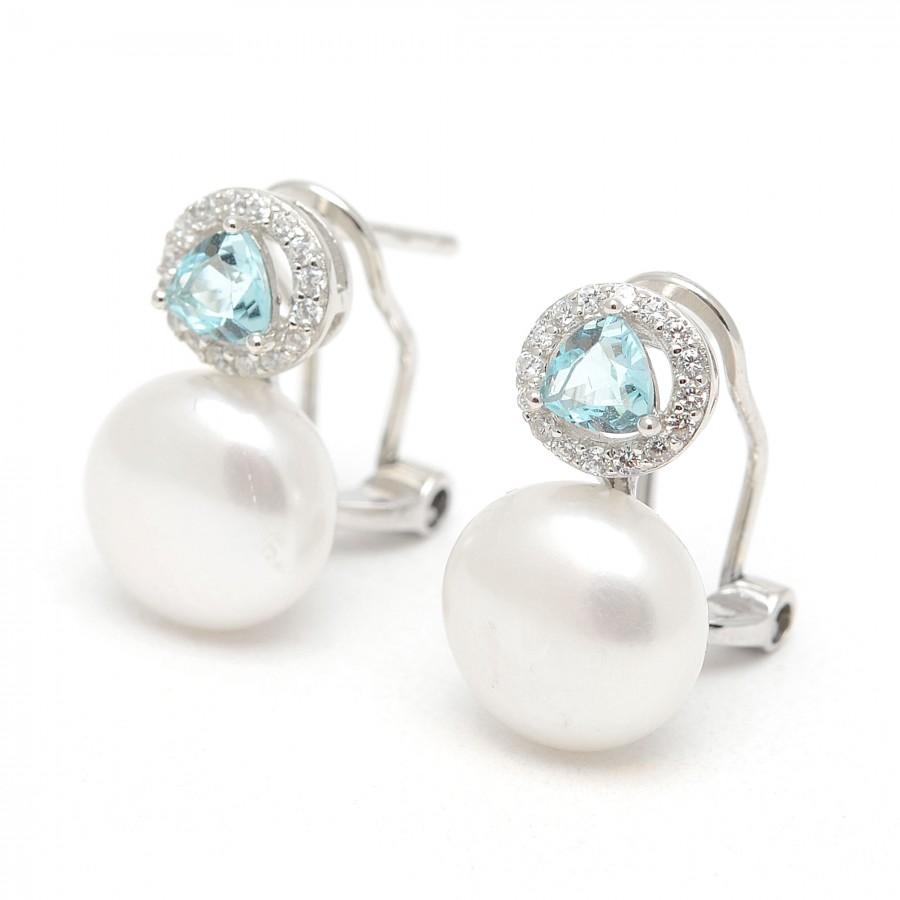 Pendientes Plata Chica Novia Perla Azul Circonitas