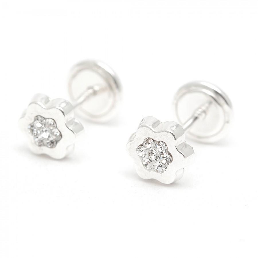 Pendientes de plata de rosca de flor con cristales