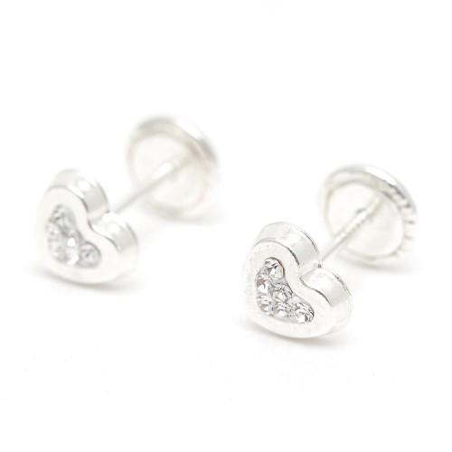 Pendientes Plata Corazón Circonitas