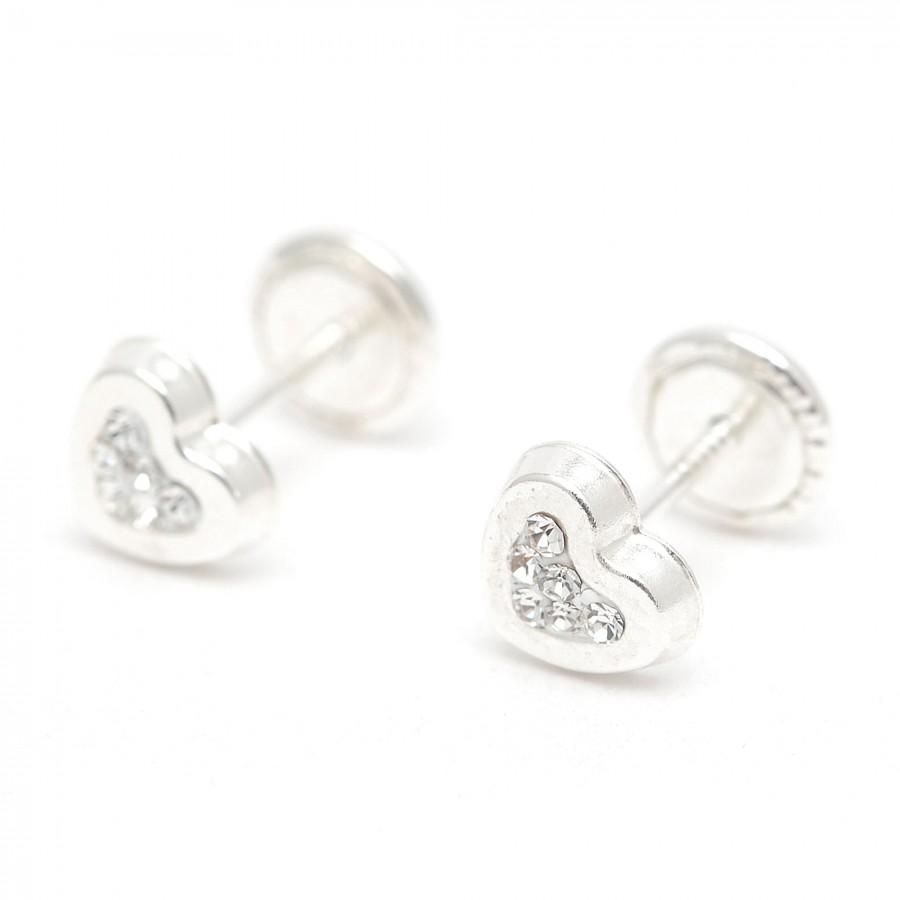 Pendientes de plata de rosca de corazones con cristales