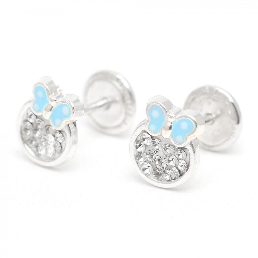 Pendientes de plata de rosca de mariposa azul con cristales
