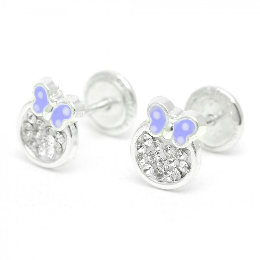Pendientes de plata de rosca de mariposa lila con cristales