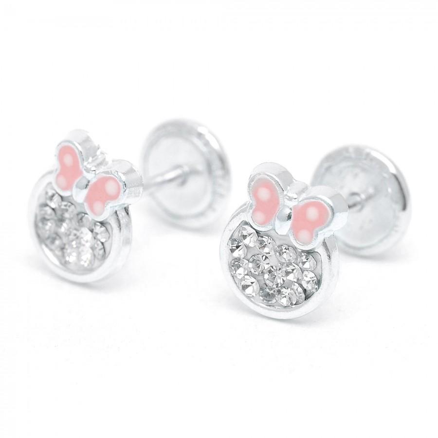 Pendientes de plata de rosca de mariposa rosa con cristales