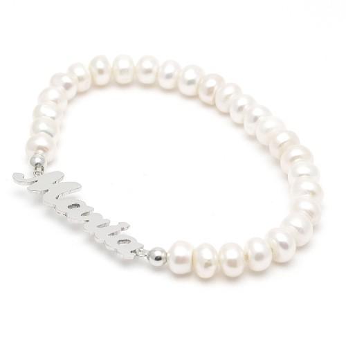 Pulsera Plata Perlas Nombre Personalizado