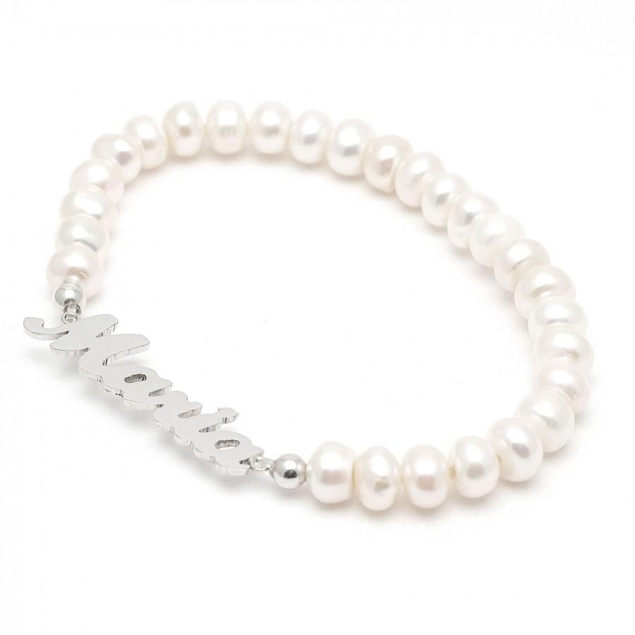 e34b4f7f33c5 Pulsera de plata de perlas con el nombre personalizado