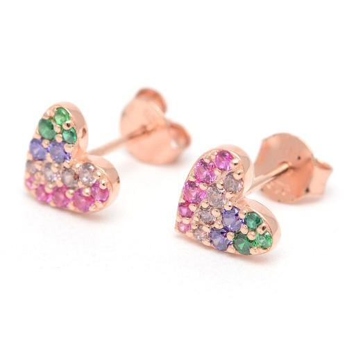 Pendientes Dorados Agatha Corazón Arco Iris