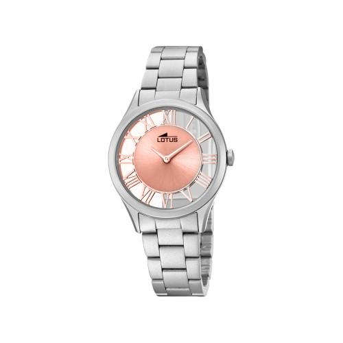 Reloj Lotus Rosa Transparente Brazalete Acero