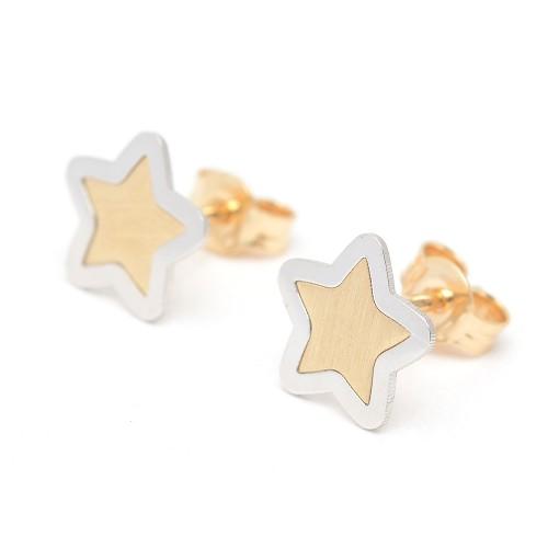 Pendientes de oro con estrella bicolor