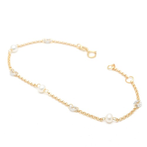 Pulsera Oro Perlas y Círculos