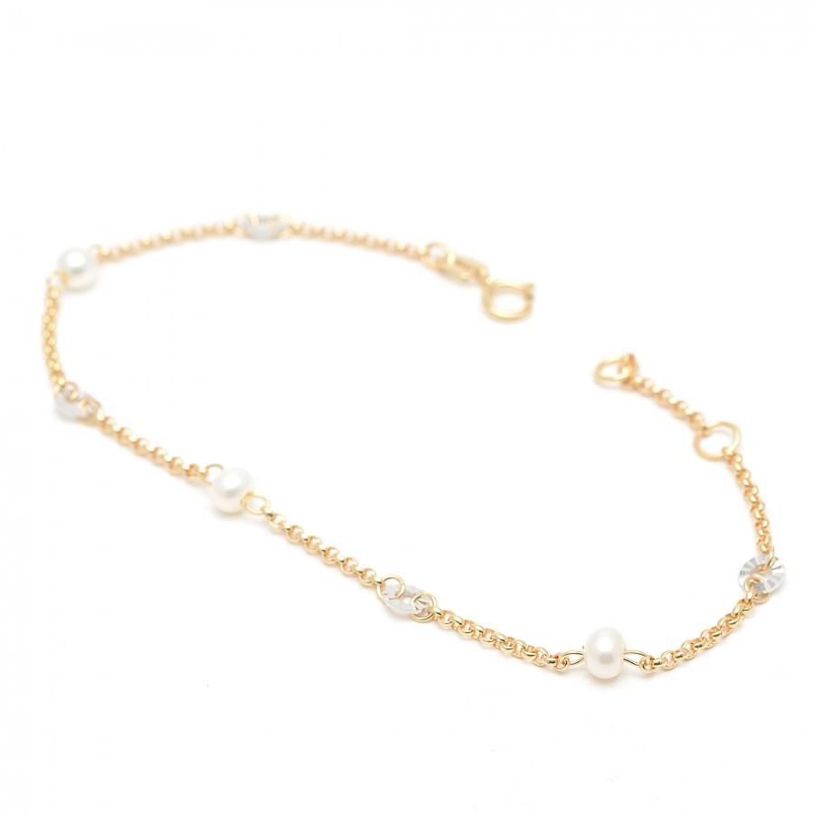 Pulsera Oro Niña Comunión Círculos con Perlas