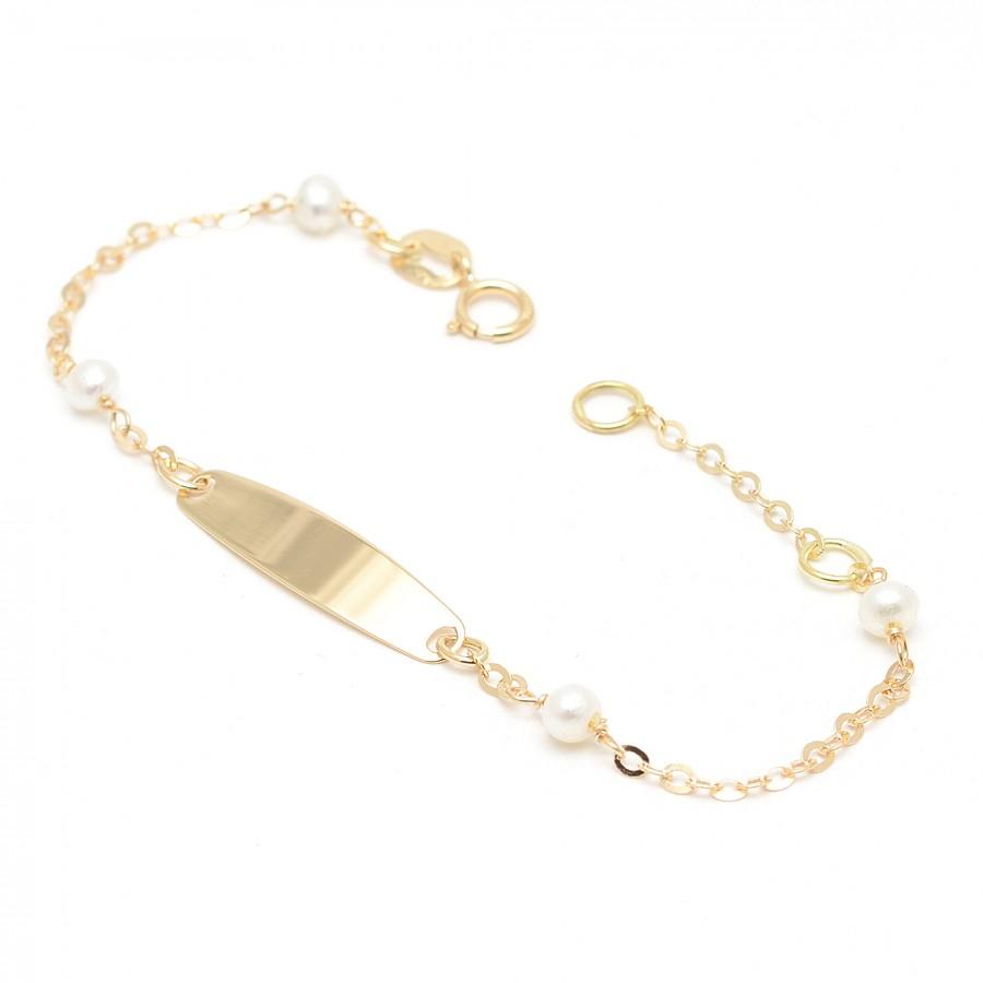 Pulsera Oro Placa Perlas
