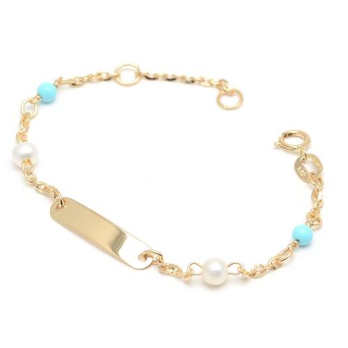 Pulsera Oro Bebé Placa Perlas Turquesas