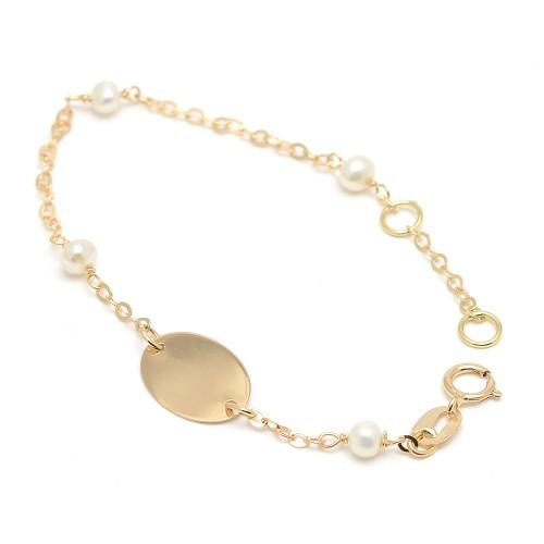Pulsera Oro Bebé Placa Nombre Perlas