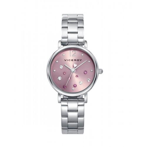 Reloj Viceroy Rosa Cristales Brazalete Acero