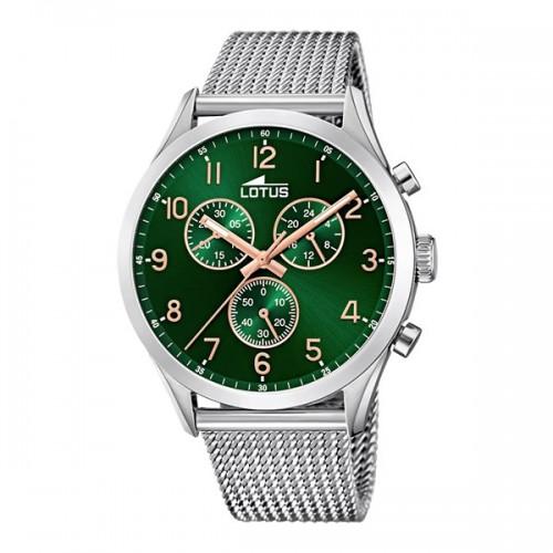Reloj Lotus Verde Brazalete Malla Acero