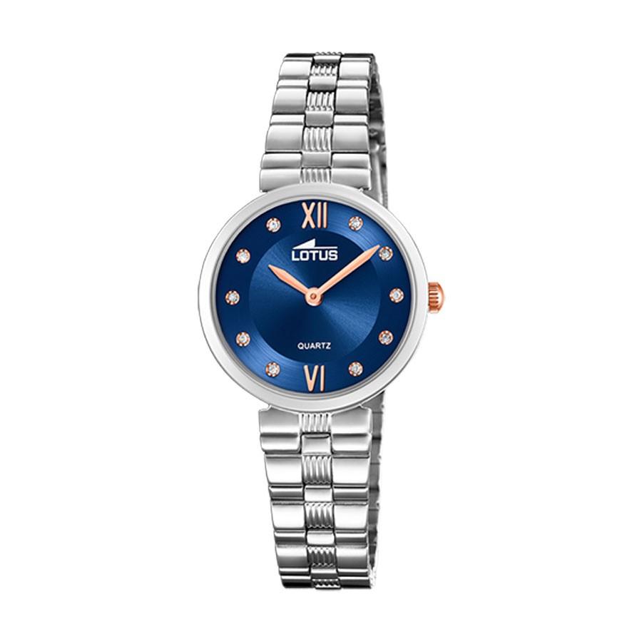 Reloj Lotus azul con brazalete de acero