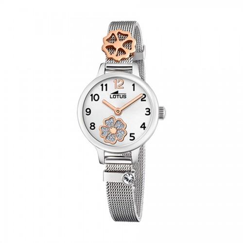 Reloj Lotus Flor Dorada Brazalete Malla Acero