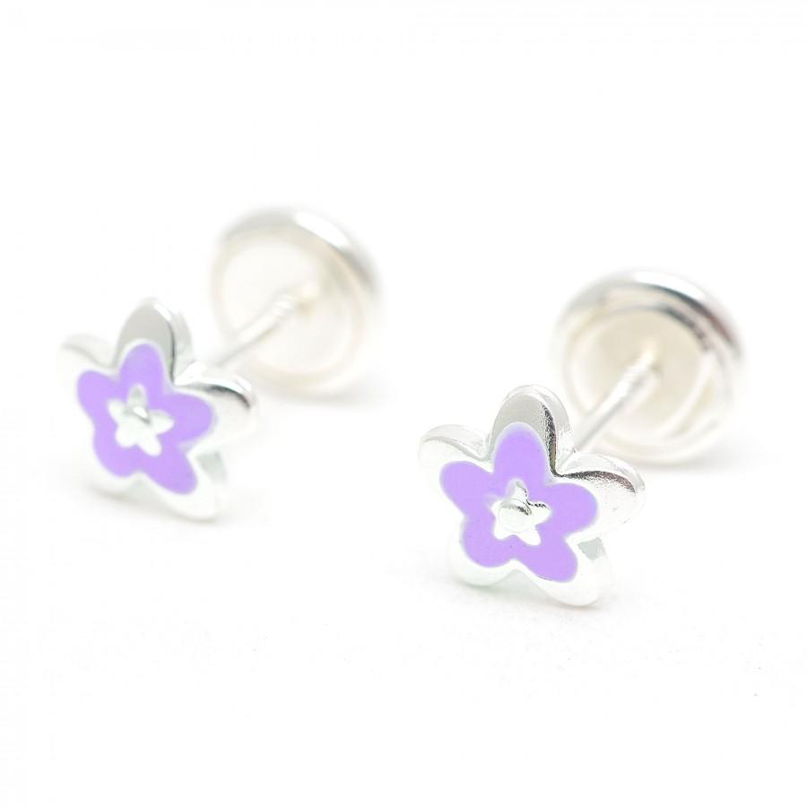 Pendientes de plata de rosca de flor lila